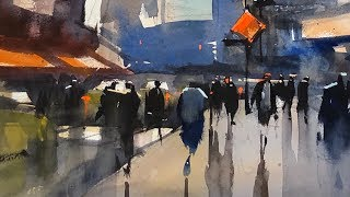 "Advancing with Watercolor: Simplify with  Patterns ""Hustle & Bustle, Times Square"""