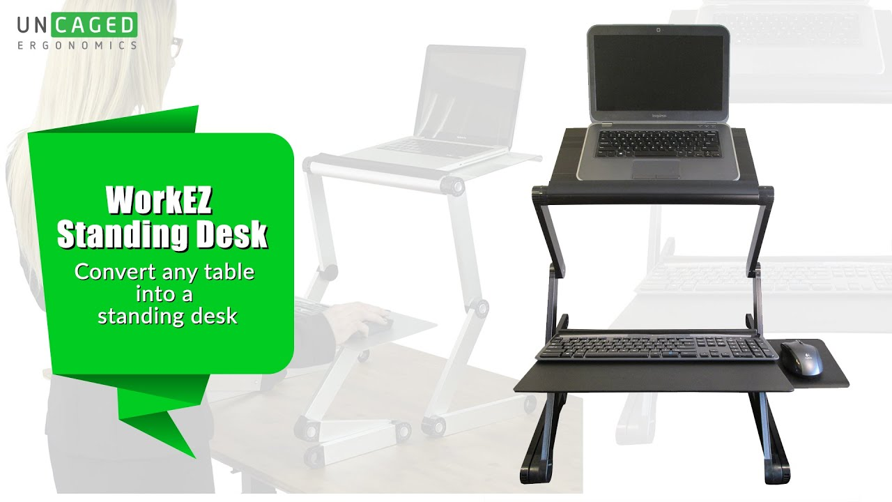 Laptop Standing Desk - WorkEZ Standing Desk - Ergonomic Laptop/Desktop sit  stand conversion