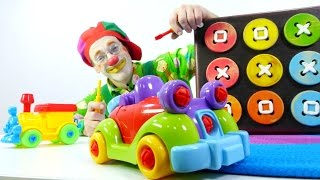 Toy cars, funny games for children with clowns. Машины,  машинки, смешные игры детям с клоунами(Funny stories with Clown Poogie. Clown Poogie loves playing with toy cars. Today, he will collect retro toy car. Let's see how he did it. Subscribe to Funny Clown ..., 2016-04-04T08:49:40.000Z)