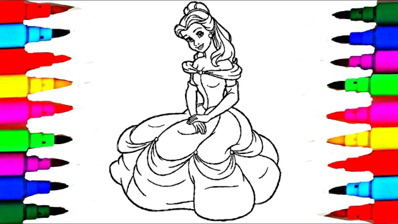 Disney Princess Belle Beauty and the Beast Coloring Pages l Disney ...
