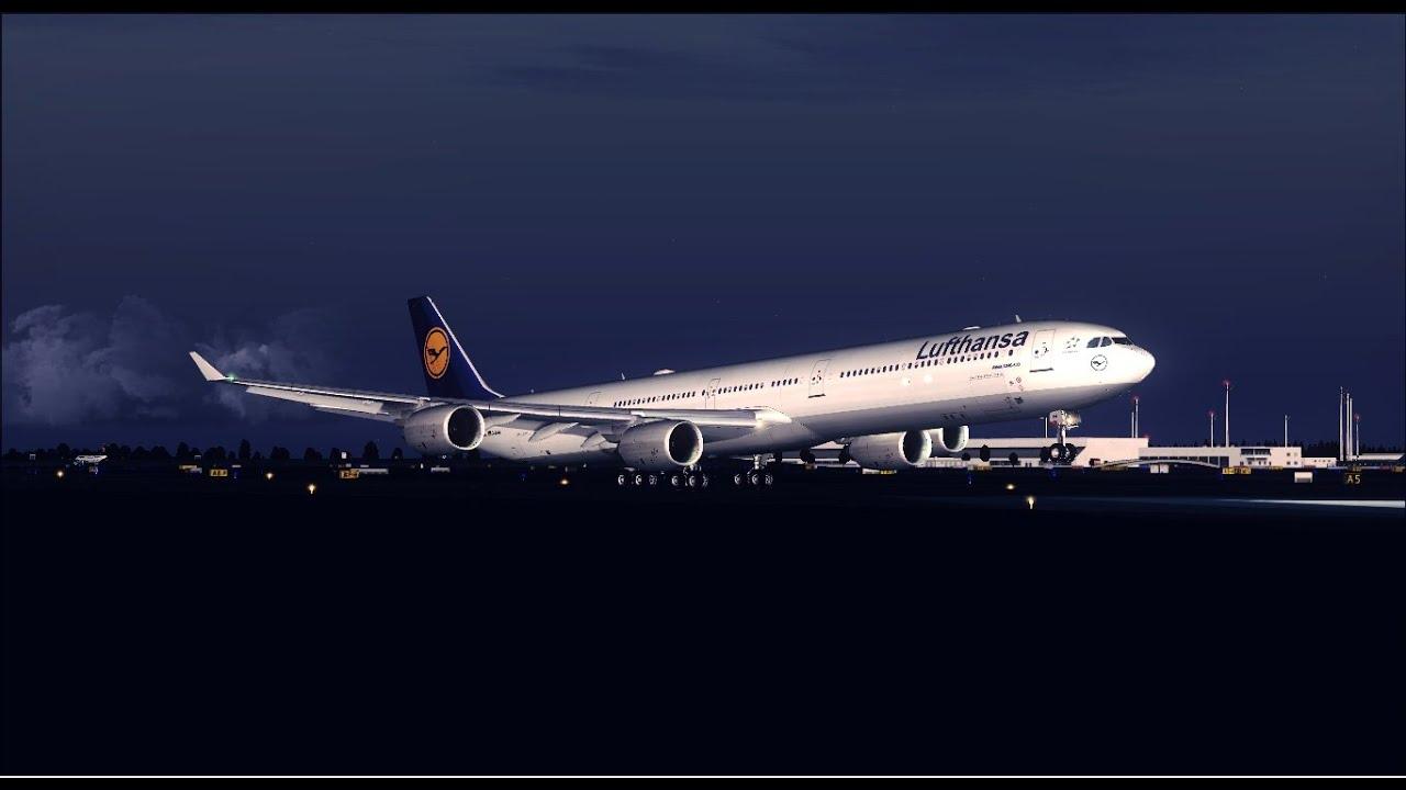 FSX HD Lufthansa A340 600 Dusk Landing At Munich by Uchiha FSXPilot