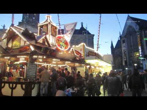 Amsterdam at Night -  a walk to the Dam Square fair-ground in Holland - The Netherlands