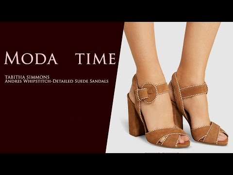 TABITHA SIMMONS Andres Whipstitch-Detailed Suede Sandals