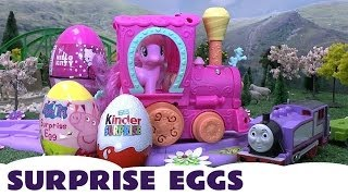 My Little Pony Peppa Pig Kinder Surprise Eggs Hello Kitty  Rosie Thomas The Tank  MLP Kids Train Set