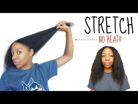 How To STRAIGHTEN / STRETCH Natural Hair NO HEAT! | T'keyah B
