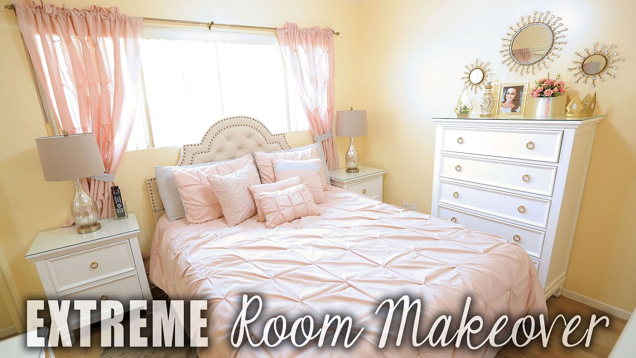 extreme bedroom makeover before after blush white 11704 | maxresdefault