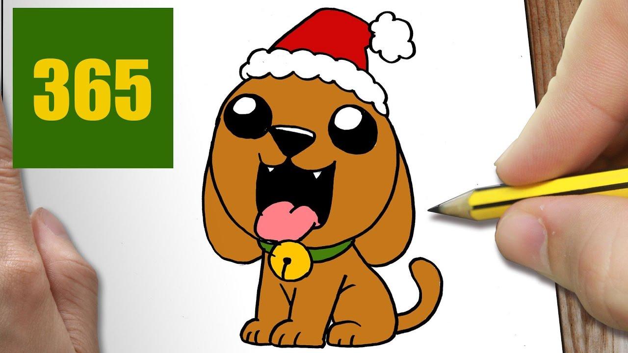 Comment dessiner chiot de no l kawaii tape par tape - Dessin chien facile ...