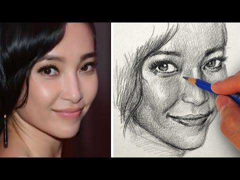 how-to-draw-a-pretty-face-with-pencil---li-bing-bing