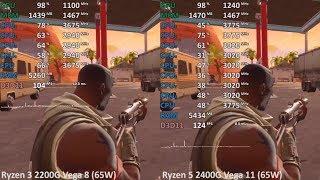 Ryzen 3 2200G vs. Ryzen 5 2400G in 9 Games. Gaming Benchmark Test Comparison