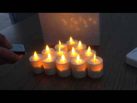 Set Of 12 Moving Flame Wick Led Rechargeable Flameless Tea