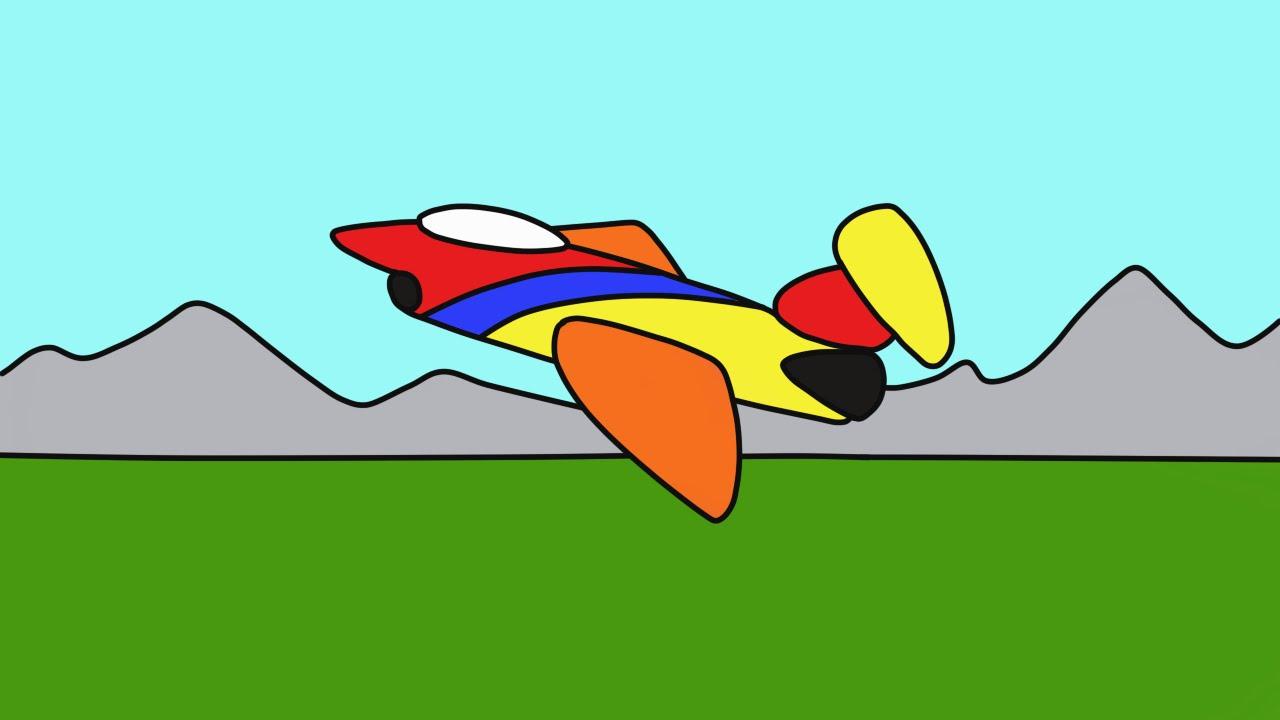 ВЕСЕЛАЯ РАСКРАСКА. Рисуем самолет. Развивающий мультик для ...
