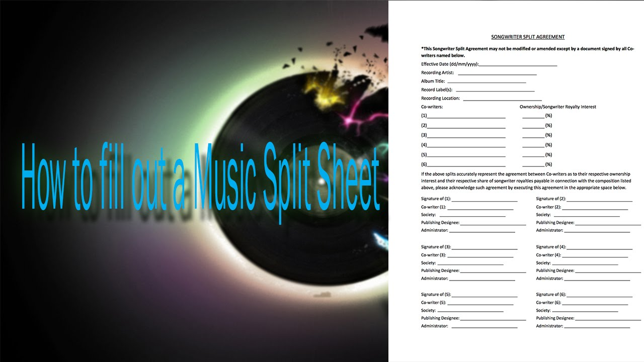 How to fill out your music Split Sheets