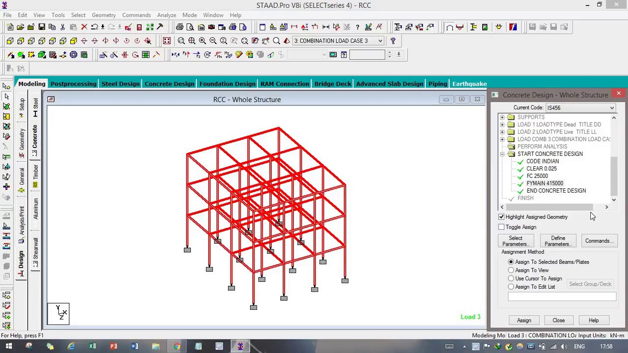 Design And Analysis Of Three Storey Building In Staad Pro Youtube
