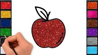 رسم وتلوين للاطفال/ لعب و مرح مع التفاحة اللذيذة/ drawing & coloring apple for kids