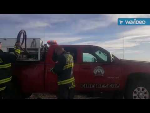 Fire Dept. Brush Fire Truck and Brush Engine Responding to a grass fire Fort Macleod AB