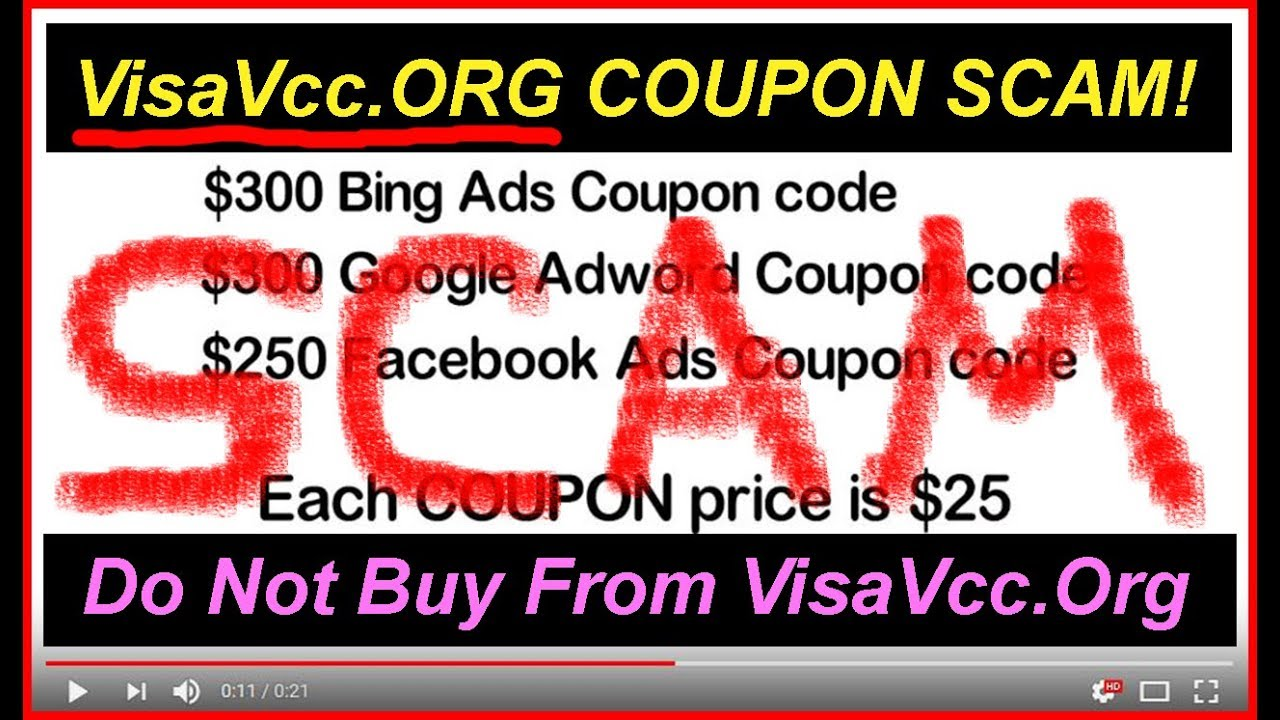 ((SCAM by VisaVcc Org)) $300 Bing Coupon, Google Adwords Coupon & $250  Facebook Ads COUPON for $25