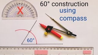 constructing an angle of 60° degree || How to construct 60 degrees