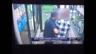 Man Robbing people with his finger