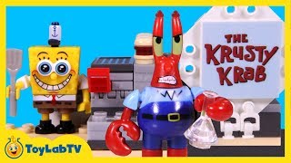 SpongeBob SquarePants Toys with Mega Bloks Krusty Krab Playset & Krabby Patty Launcher