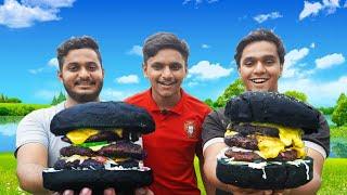 BLACK CHEESY THREE LAYER BEEF BURGER !!! Burger Recipe   Beef Burger   Burger   food4 people