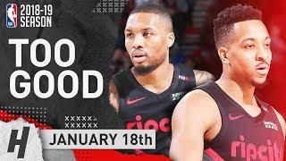 Damian Lillard & CJ McCollum SICK Highlights Trail Blazers vs Pelicans 2019.01.18 - TOO GOOD!