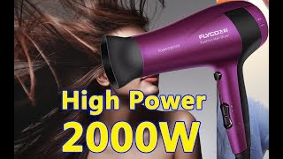 High power!!! Flyco FH6618 2000W Household Hair Dryer - Purple