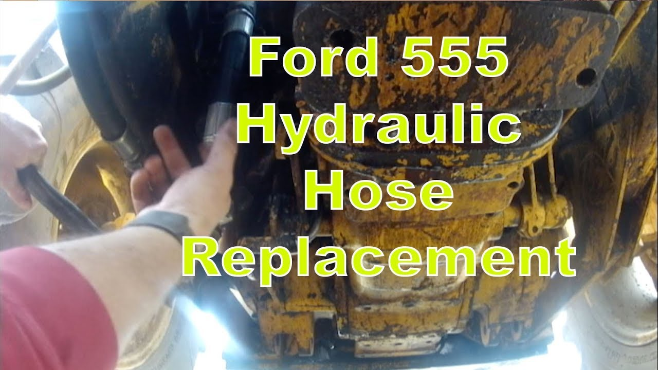 putting a new hydraulic hose on a 1981 ford 555 backhoe [ 1280 x 720 Pixel ]