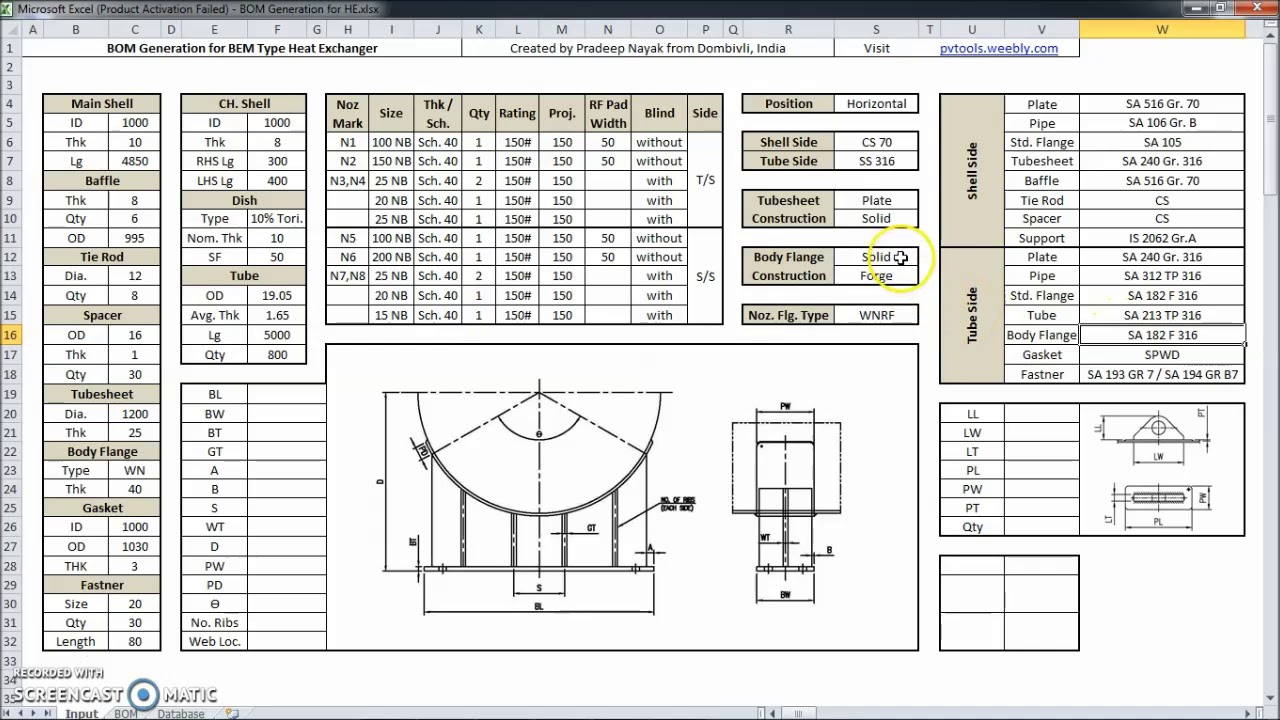 Design spreadsheet for Shell and Tube Heat Exchanger and