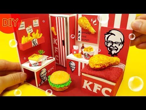 DIY Miniature dollhouse   KFC room decor ! I like Chicken ~