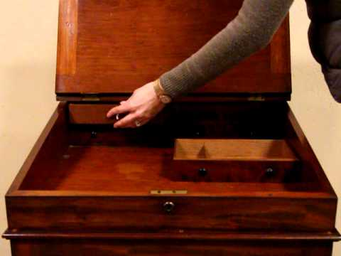 Ship Captain 1875 Desk Secret Drawers Sliding Leather