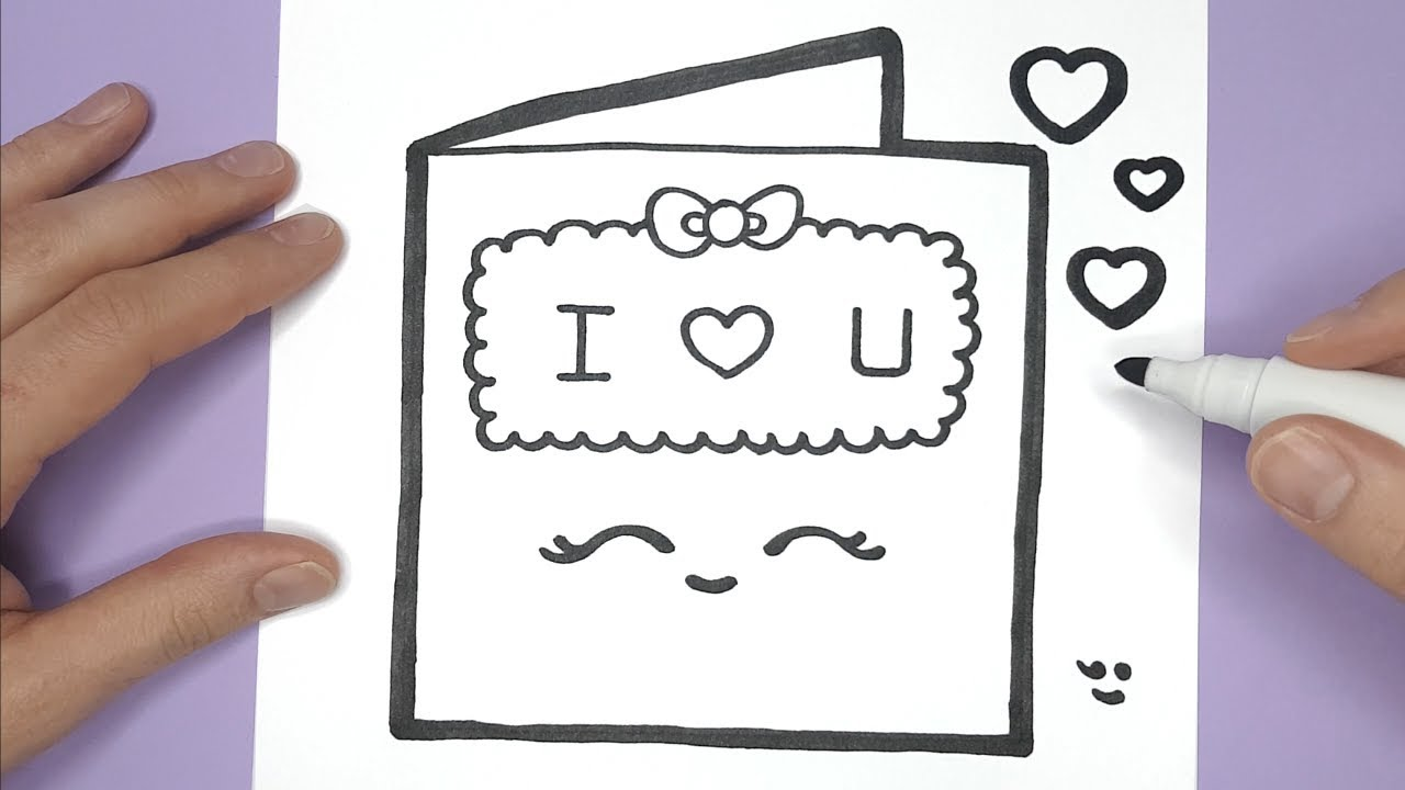 How To Draw a cute LOVE CARD for VALENTINE'S DAY - SUPER ...