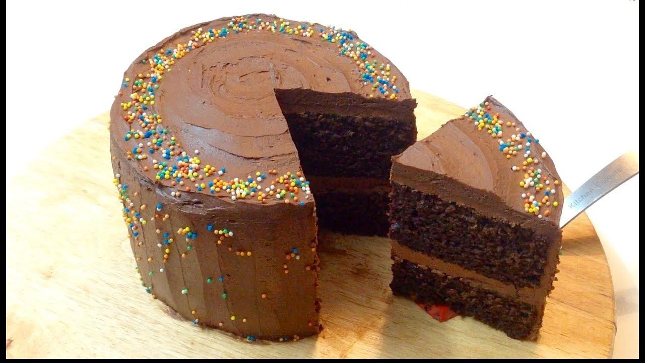 Simple Easy Chocolate Birthday Cake With Rich Ganache