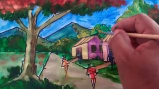 Como dibujar y pintar un paisaje usando la perspectiva Artista David Sosa