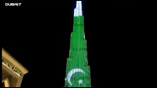 Dubai's Burj Khalifa lights up with Pakistan flag ...