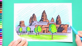 How to draw and color Angkor Wat Temple, Cambodia