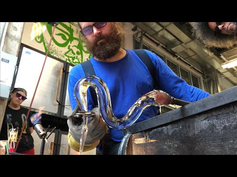 Glass artists Asp and Hand make a pitcher with a very cool handle