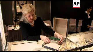 Rare emerald and diamond tiara on display before auction in Geneva