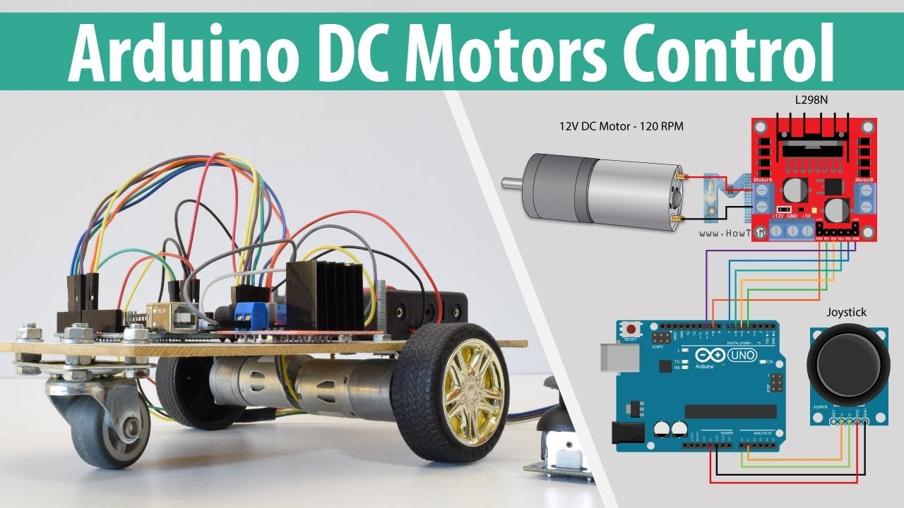 arduino dc motor control tutorial l298n h bridge pwm robot car [ 1280 x 720 Pixel ]