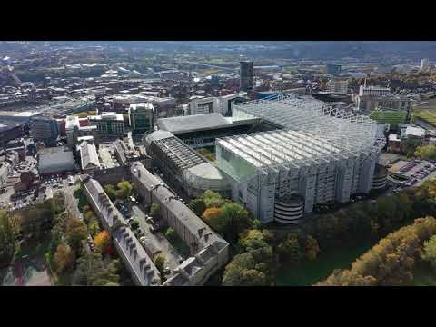 Newcastle United's Stadium St James' Park from the air