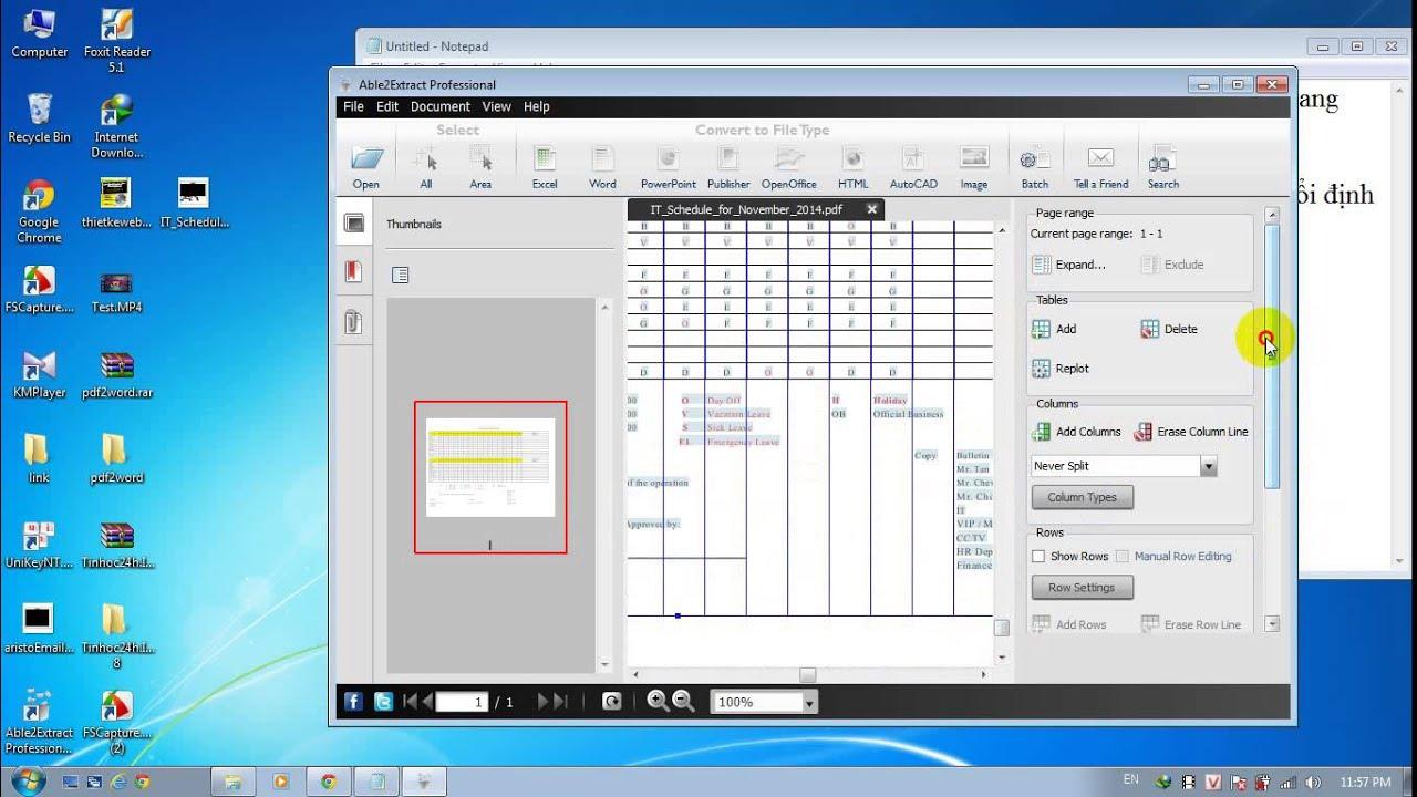 chuyen doi PDF sang Excel – tin học