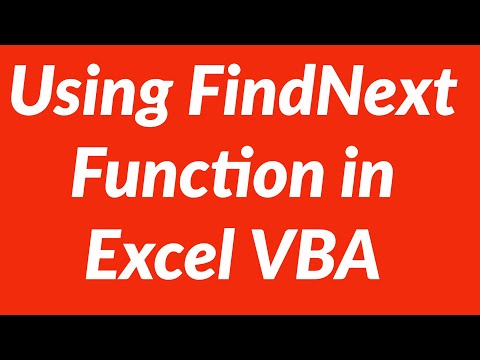 Using Find And FindNext Functions In VBA