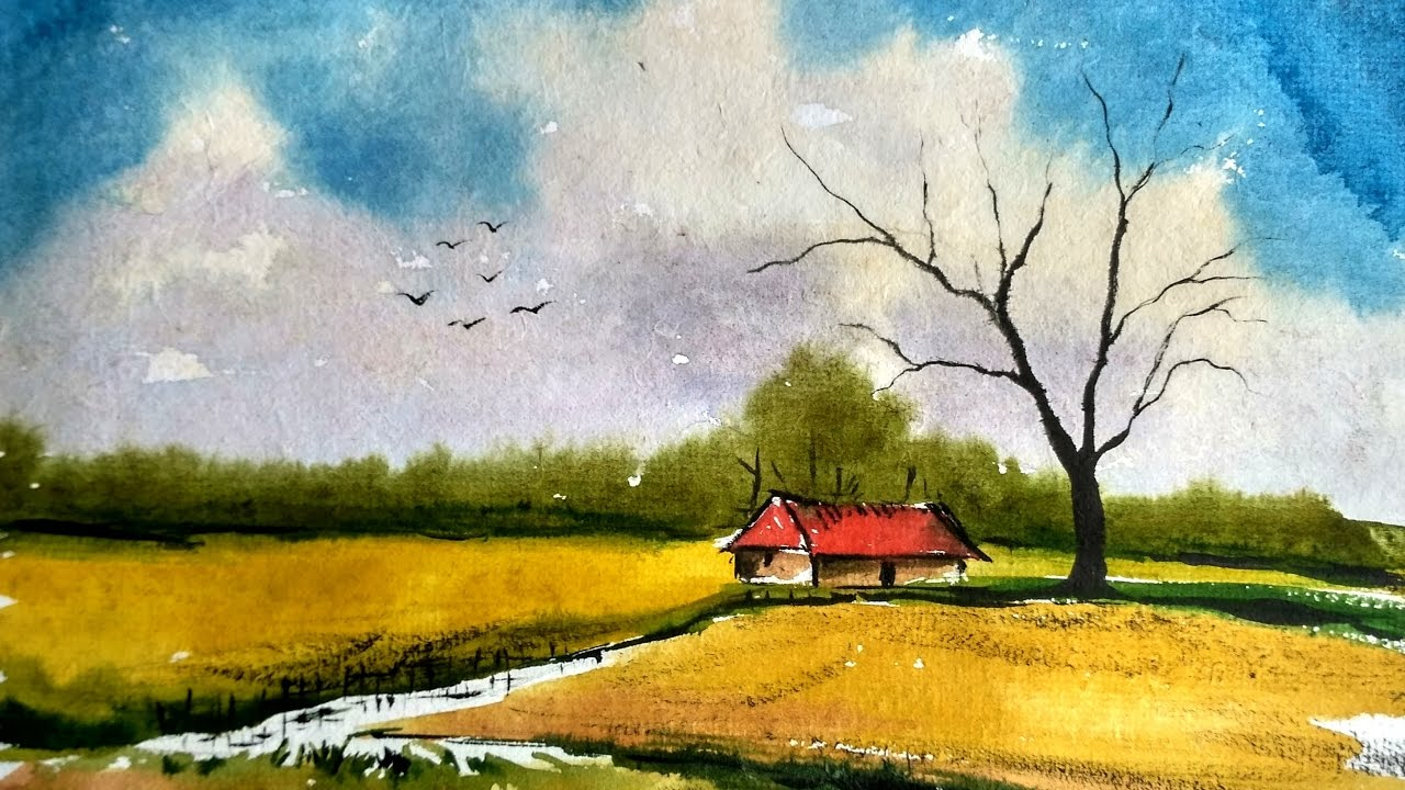 simple landscape painting in watercolor