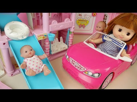 Thumbnail: Baby doll slide play house and pink car toys