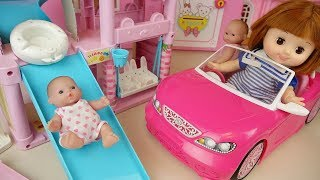 Baby doll slide play house and pink car toys