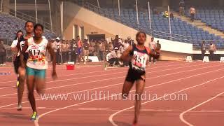 Indian police-women sprint 100 meter dash