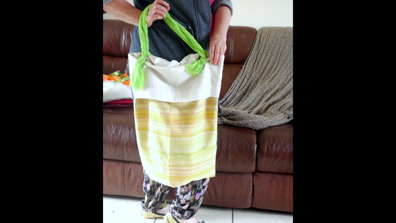 No Sew Pillowcase Drawstring Bag: Easy Strong No Sew Bag from 2 Pillowcases   YouTube,