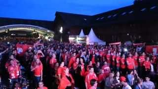 Honduras - Schweiz 25. Juni 2014 / Nationalhymne in der Winti Arena