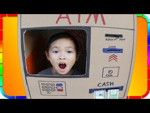 Kids Pretend Play ATM Machine Deposit and Withdraw Real Money!!!