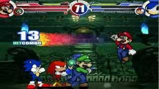 Super Mario & Super Luigi vs Classic Sonic & Classic Knuckles MUGEN Battle!!!