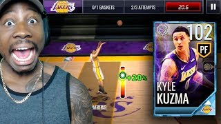 102 OVR KYLE KUZMA SHOOTING FROM HALF COURT! NBA Live Mobile 18 Gameplay Pack Opening Ep. 64